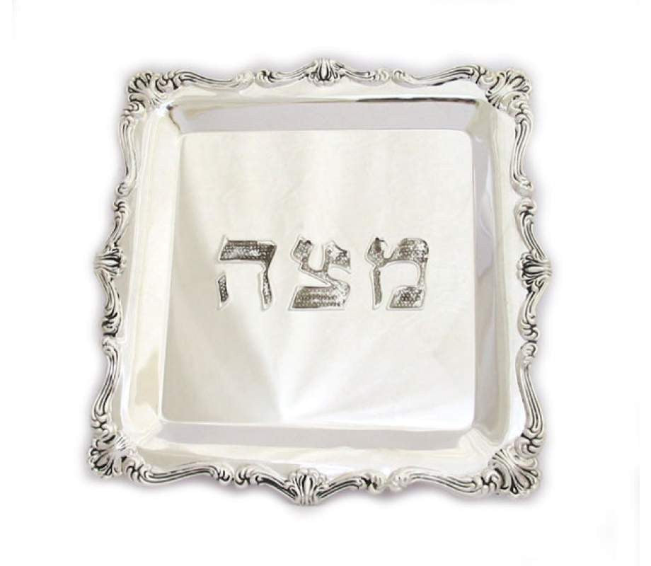 Square Silver Plated Matzah Tray