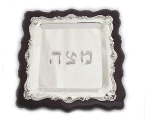 Wood and Silver Plated Matzah Tray