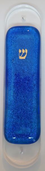 Royal Blue Dichroic Glass Mezuzah Case