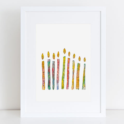Hanukkah Lights Art Print