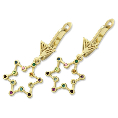 Marina Gold Plated Star of David Earrings with Gemstones
