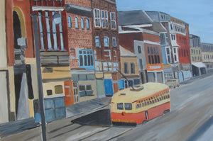 Old Streetcar on Queen Street Toronto-Martin Potashner Paintings