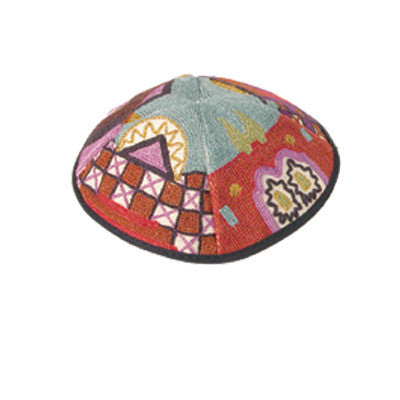 Yair Emanuel Embroidered Kippah - Multicolor