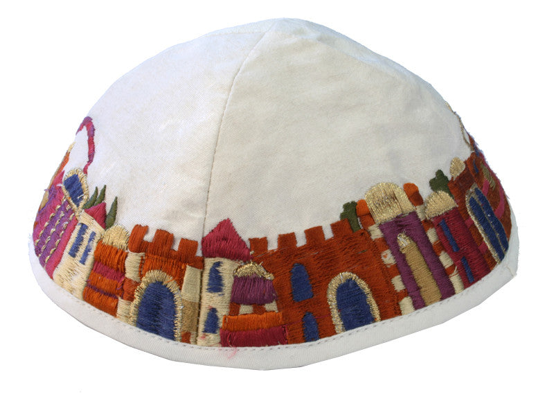 Yair Emanuel Embroidered Silk Kippah - Jerusalem White