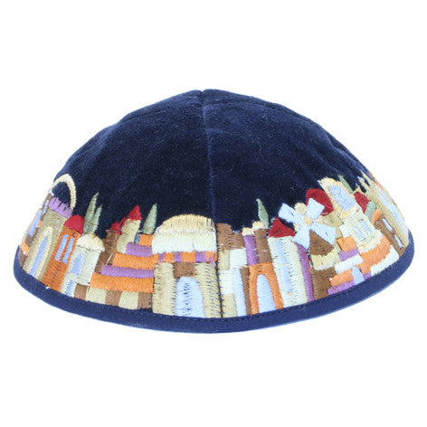 Yair Emanuel Embroidered Velvet Kippah - Jerusalem (Colors on Blue)