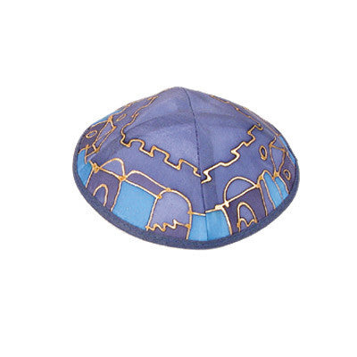 Yair Emanuel Painted Silk Kippah - Jerusalem Blue