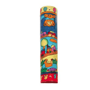 Wooden Mezuzah Case with Hand Painted Toys by Yair Emanuel