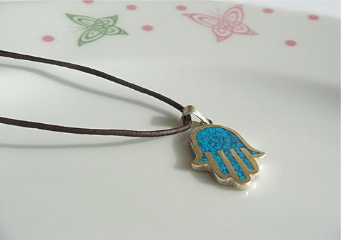 Silver Hamsa Hand Necklace filled with Mosaic inlay