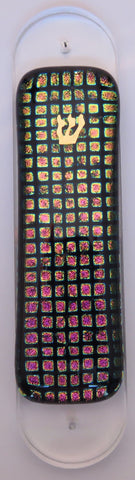 Gold and Pink Checkered Pattern Dichroic Glass Mezuzah