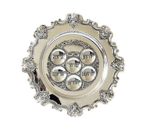 Floral Rim Passover Seder Plate - Silver Plated