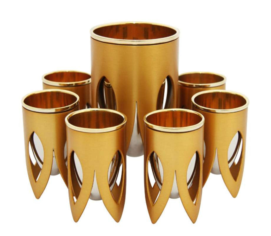Gold Kiddush Cup Set by Caesarea Arts Lotus Collection