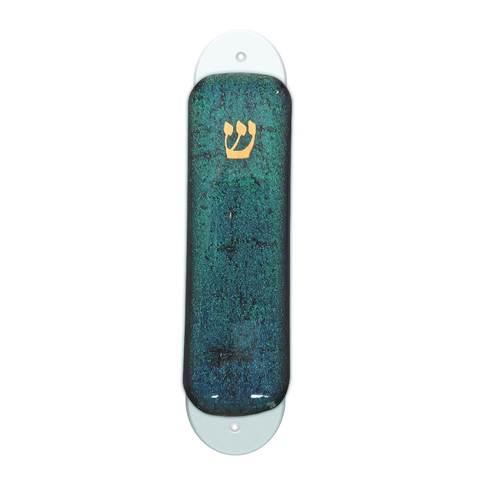 Teal Dichroic Glass Mezuzah Case