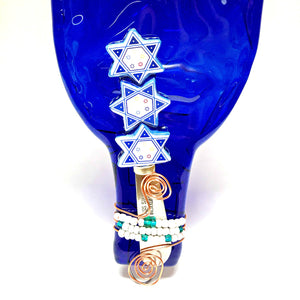 Hanukkah cheese plate handblown glass