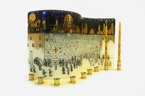 Jerusalem of Gold Menorah by Marcela Rosemberg