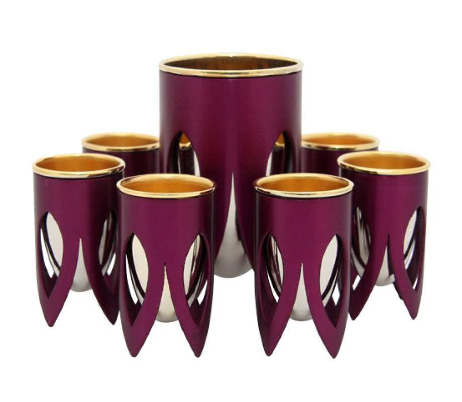 Maroon Kiddush Cup Set by Caesarea Arts Lotus Collection