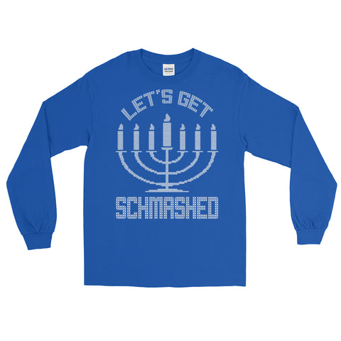 c847a261 Let's Get Schmashed Funny Hanukkah Ugly Sweater Long Sleeve T-Shirt ...
