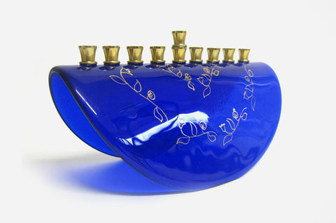 Shalom Blue Menorah by Marcela Rosemberg