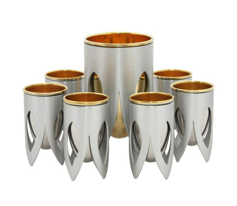 Silver Kiddush Cup Set by Caesarea Arts Lotus Collection