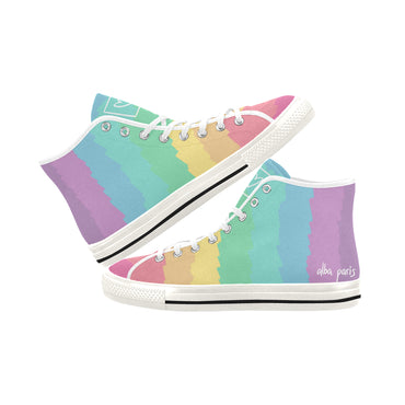 """Pastel Rainbow"" Women High Top Canvas Shoes"