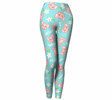 """Vegan Piggy"" Leggings - Alba Paris Art - Vegan Art, Apparel & More - 2"