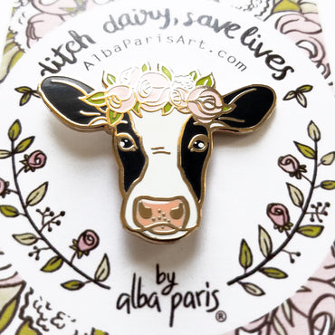 """Ditch Dairy, Save Lives"" Hard Enamel Pin"