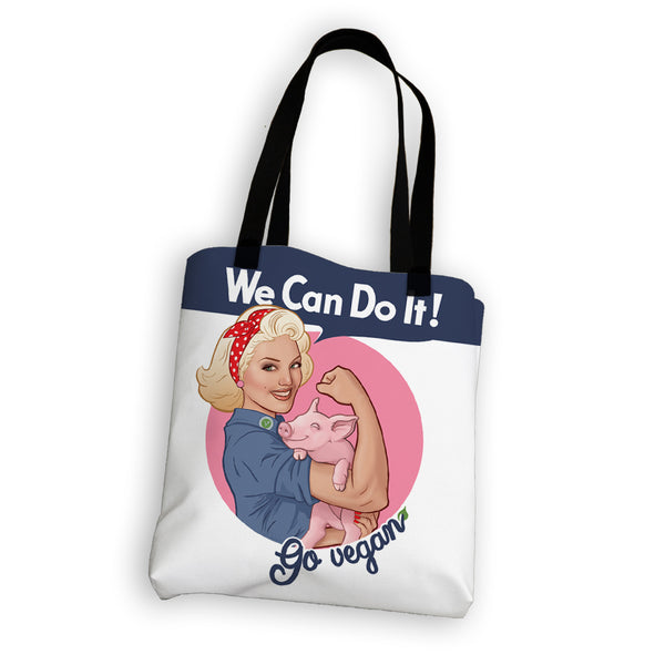 """We Can Do It! Go Vegan"" Tote Bag"