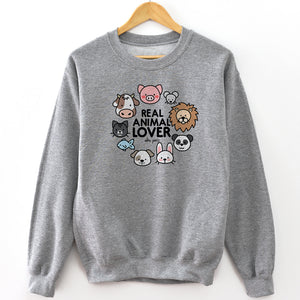 """Real Animal Lover"" Crewneck Sweatshirt"