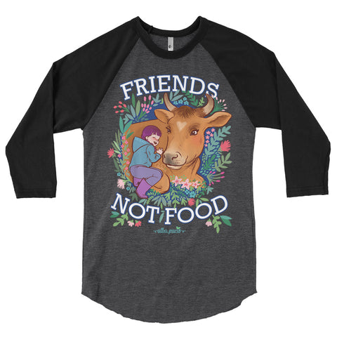 """Friends Not Food"" Unisex Baseball T-Shirt"