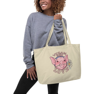 Vegan Means Love Organic Shopping Bag