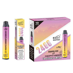 Ezzy Switch - 2-in-1 Disposable Vape Device - Pineapple Lemonade + Guava Ice (10 Pack)