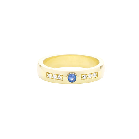 18k Yellow Gold Expectancy Band with Blue Sapphire and Micro Pavé Diamonds