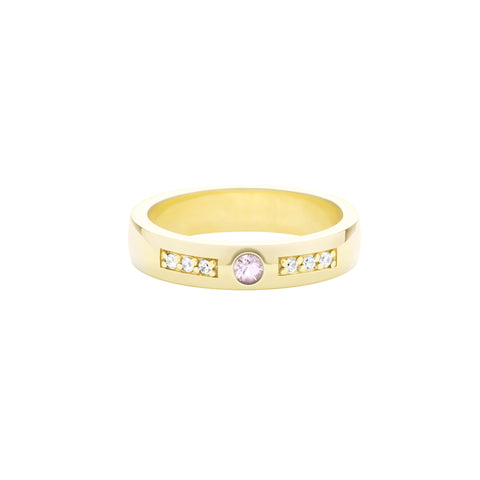 18k Yellow Gold Expectancy Band with Pink Sapphire and Micro Pavé Diamonds
