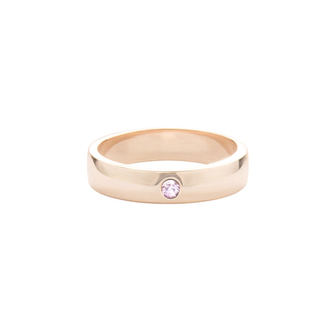Pink Sapphire 14k Rose Gold Unisex Expectancy Band