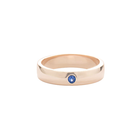 Blue Sapphire 14k Rose Gold Unisex Expectancy Band