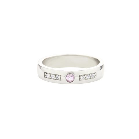 18k White Gold Expectancy Band with Pink Sapphire and Micro Pavé Diamonds