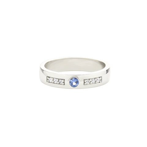 18k White Gold Expectancy Band with Blue Sapphire and Micro Pavé Diamonds