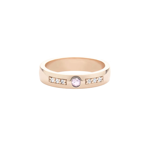 14k Rose Gold Expectancy Band with Pink Sapphire and Micro Pavé Diamonds