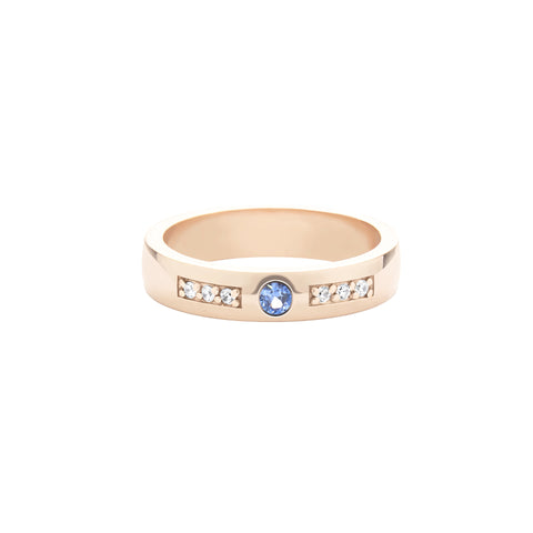 14k Rose Gold Expectancy Band with Blue Sapphire and Micro Pavé Diamonds