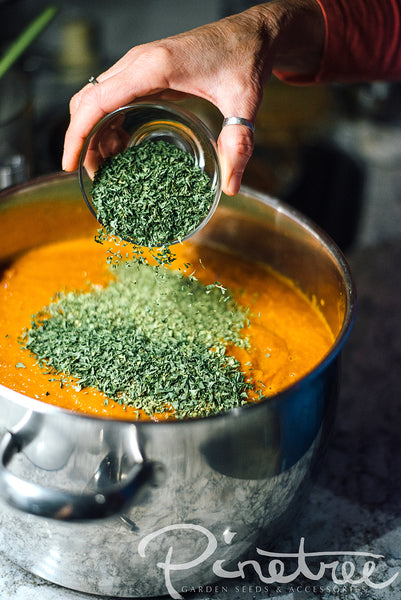 hand pouring dried oregano into pot with sauce