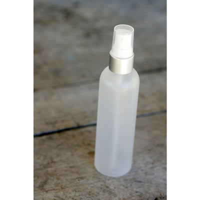 Frosted Bottle With Silver Collar & White Mist Top - Soapmaking Supplies