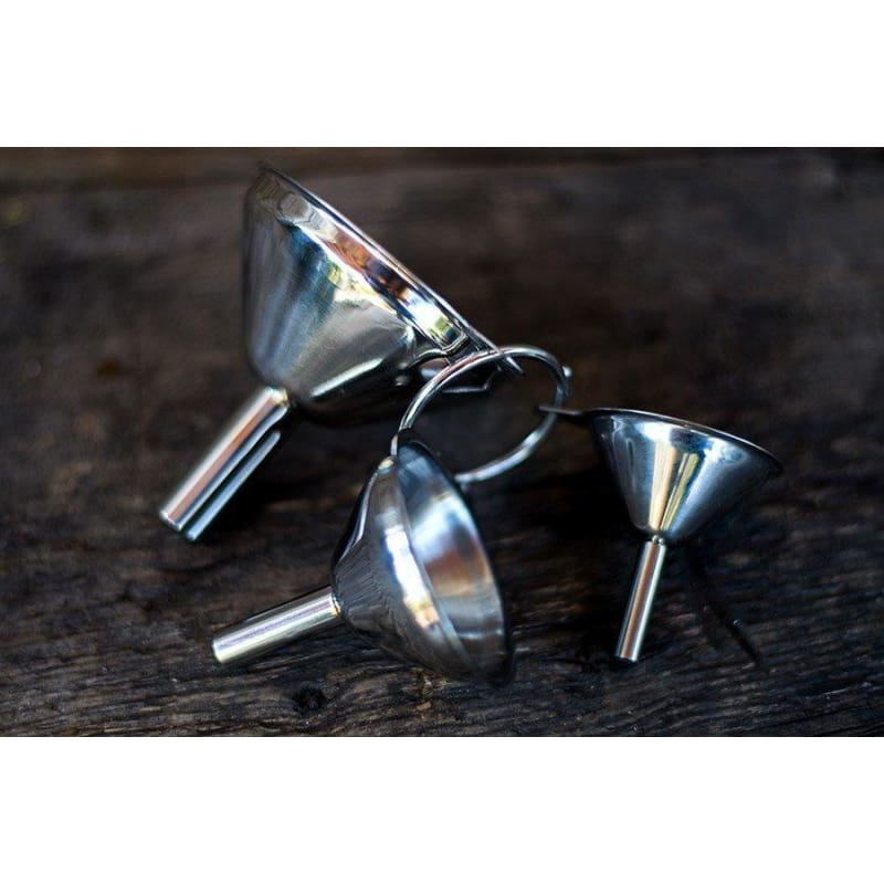 SET OF 3 STAINLESS STEEL FUNNELS