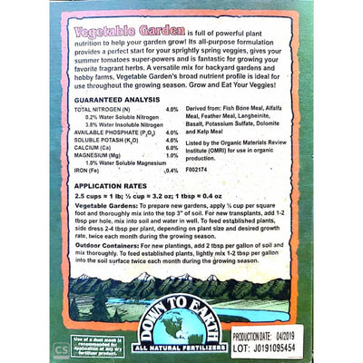 Vegetable Garden Fertilizer NPK 4-4-4 - Supplies