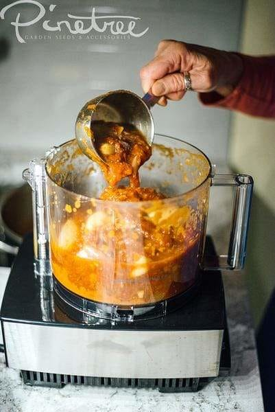 hand pouring chunky sauce from a measuring cup into food processor on kitchen counter