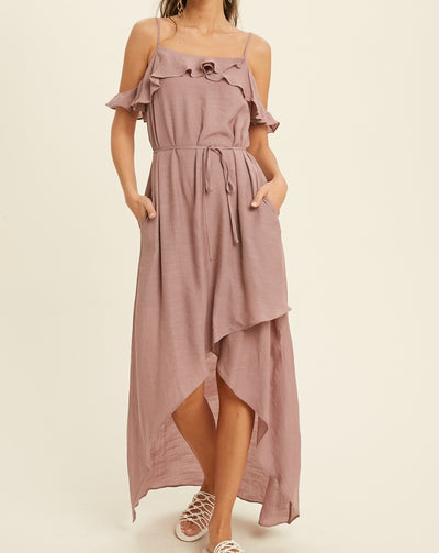 Cold Shoulder Ruffled Maxi Dress