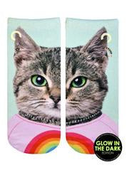 Purrfect Cat Glow Ankle Socks