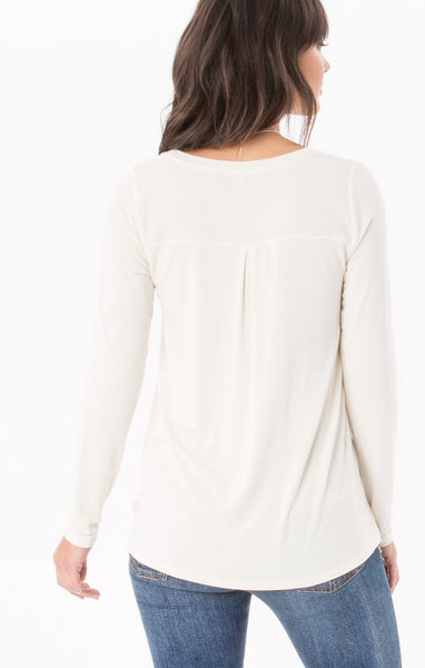 The Sleek jersey Split Neck L/S