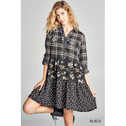 Plaid And Floral Tiered Button Down Dress