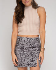 Cheetah Faux Suede Mini Skirt