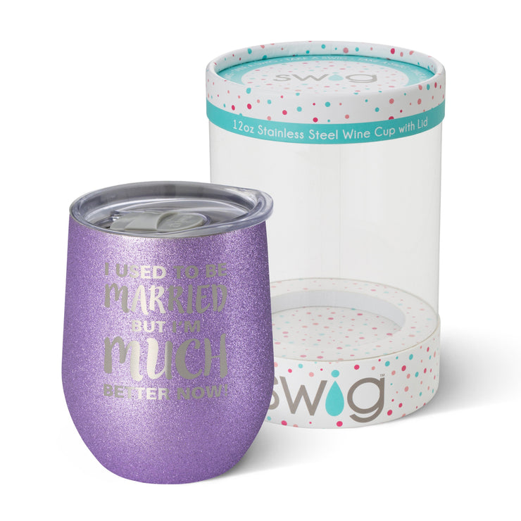 Swig 12oz Glitter Stemless Wine Cup - I Used to be Married
