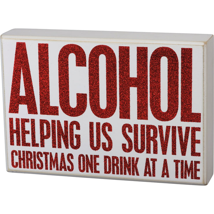 Box Sign - Survive Christmas One Drink At A Time
